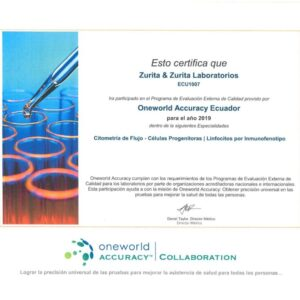 Certificado de control externo Citometria 2020